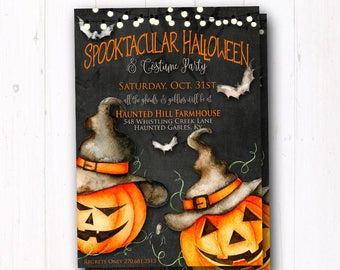 Rustic Halloween Party Invitation - Trunk or Treat Flyer - Costume Party - Kids Trick or Treat - Halloween Party Invite - Haunted House