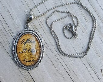 After All This Time Harry Potter glass cabochon pendant necklace, Pottermore, Professor Snape, Professor Dumbledore, fan jewelry handmade