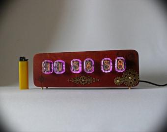 "Nixie tube clock ""Steampunk 12"" alder,  color mahogany, IN-12"
