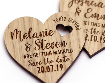 Save the Date Wedding Magnet, Rustic Save the date, Wood Save the Date Magnet, Heart Wedding Save the date, Wedding Invitation
