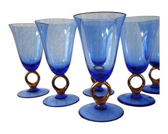 modern blue u0026 copper finish wine glasses s6