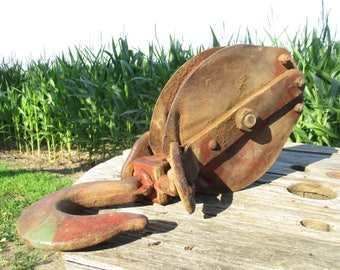 Industrial Age Factory Hardware Block Pulley Heavy Duty Hook Hardware Vintage