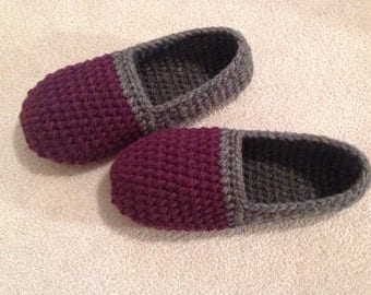 Women's Handmade Crochet Slippers Made in Canada, House Slippers, Two tone