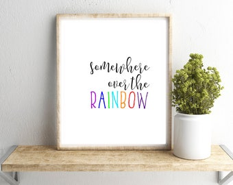 Somewhere Over the Rainbow Wall Art, Wizard of Oz Print, Dorothy Quote Printable, Home/Dorm/Nursery/Office Wall Art, Gray Frames Digital Art
