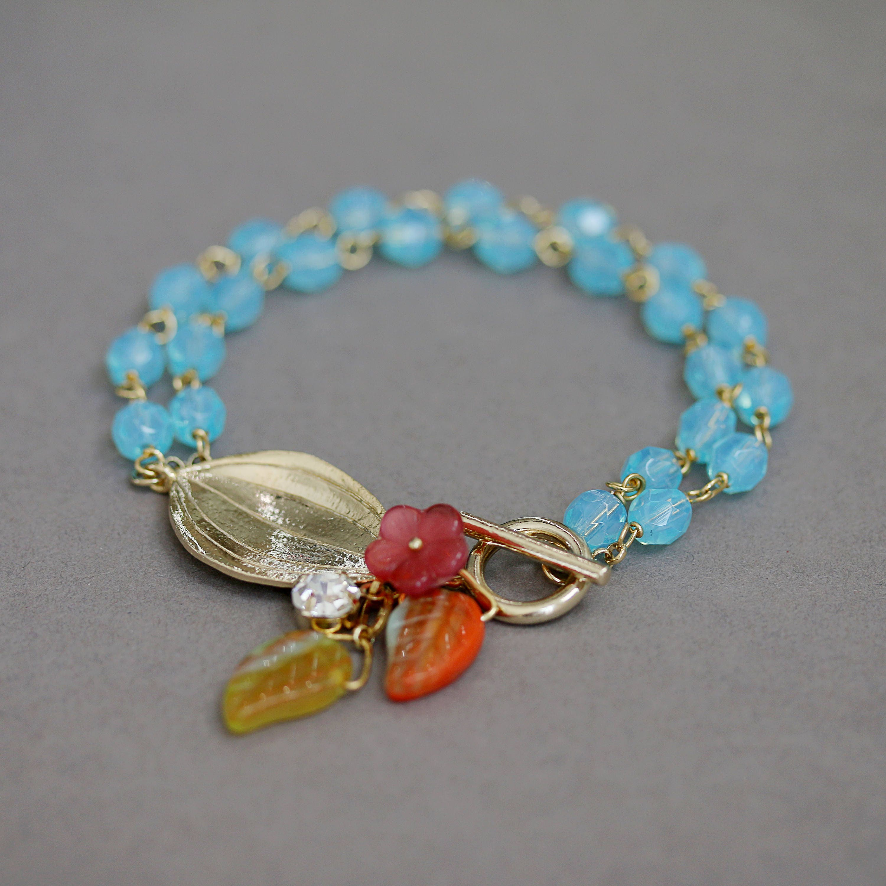 Aqua Blue Glass, Leaf and Flower Czech Glass, Gold Wire Wrapped ...