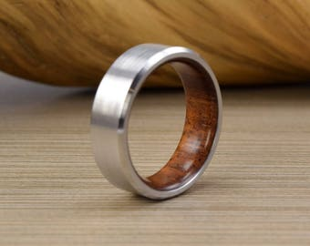 Men's Wedding Band- Cobalt and Brazilian Cherry Wedding Ring -BE- Men's Wedding Ring - Women's Wedding Ring -Unique Wedding Band