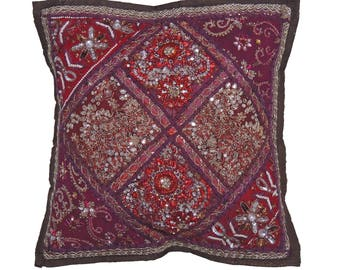 Maroon Brown Indian Sari Decorative Throw Pillow Cover - Beaded Bollywood Couch Sofa Accent Embellished Cushion 16 Inch x 16 Inch - NH17187