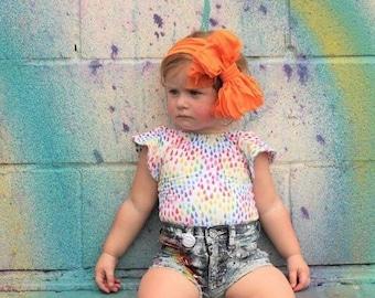 Ruffle Headband- Orange Ruffle Headband- Orange Headband- Orange Ruffles- Headband- Large Bow Headband- Orange Ruffle Bow