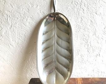 Mid Century Leaf Tray // Vintage Silver Tray
