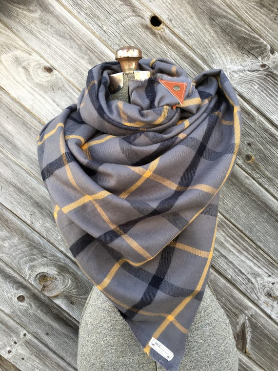 Gray, Black and yelllow Plaid Blanket Scarf with leather detail