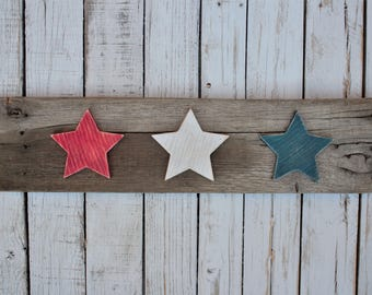 Rustic Wood Stars Wall Hanging - 4th of July
