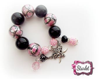 Damask Pirate Chunky Bracelet, Girl's Pirate Jewelry, Birthday Gift, Party Favor