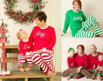 Monogrammed Christmas Pajamas - Embroidered Monogram Christmas Pj's -  Christmas Pajamas for  family