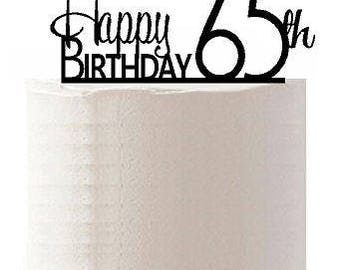 Happy 65th Birthday Agemilestone Elegant Cake Topper