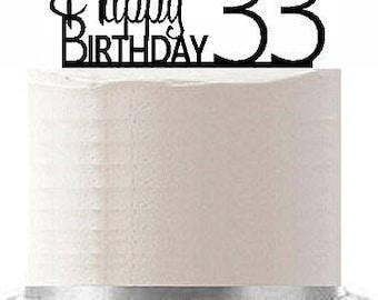 Happy 33rd Birthday Agemilestone Elegant Cake Topper