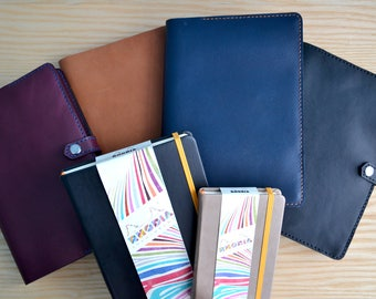 Rhodia Horween leather cover | snap closure, 4 Horween leather colours, all sizes | Journal sleeve | leather notebook Webnotebook Rhodiarama
