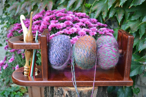 Wooden Knitting Wool Holder : Hand made wooden yarn holder knitting and crochet