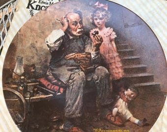 """VINTAGE! norman rockwell 1978 """"the cobbler"""" plate"""
