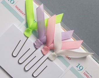 4 jumbo planner clips, solid ribbon clips, paper clips, for planner, agenda, notebook, filofax, midori, bookmark clips