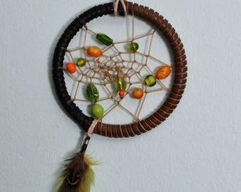 Handmade Green & Orange Retro Dream Catcher