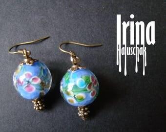 Light blue floral glassbeads earrings Lampwork glass earrings Boho style earrings Flower earrings Blue glass earrings