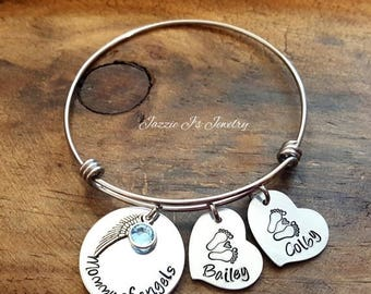 Mommy Of Angels Bangle, Remembrance Bangle, Memorial Bangle, Infant Loss Bracelet, Hand Stamped Memory Bangle, Miscarriage Bangle