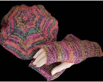 Beret and fingerless gloves set