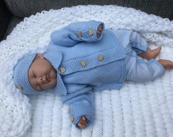 Hand Knitted Baby Set, New Baby Gift, Reborn Baby Outfit, 0-3 months Baby Set, Blue Baby Outfit, Baby Shower Gift, Ready to Ship