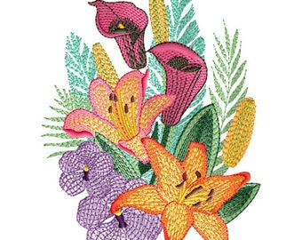 """ABC Designs Bouquet of Flowers Machine Embroidery Design - for 5"""" x 7""""  hoop"""