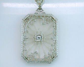 Vintage Antique Art Deco Crystal & Diamond 14K White Gold Pendant Necklace