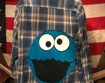 Cookie Monster Upcycled Flannel