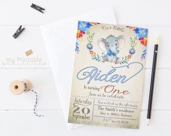 Elephant Birthday Invitation / Digital Printable Invite for Kids  / DIY 1st