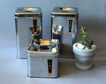 Vintage Lincoln Beautyware Kitchen Storage Canisters - Beautyware Kitchen Tins - Set of 3: Flour, Sugar & Tea