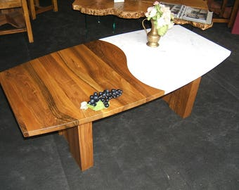 Coffee table Walnut solid and Carrara marble