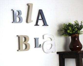 Lettres en bois bla bla  gris, blanc , taupe personnalisé  - mot géant _ décoration salon_  mylittledecor
