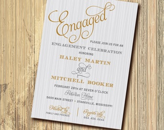 Engagement Party Invitation printable/digital, gold, gray, silver, calligraphy, wedding, dinner/Digital File/wording can be changed