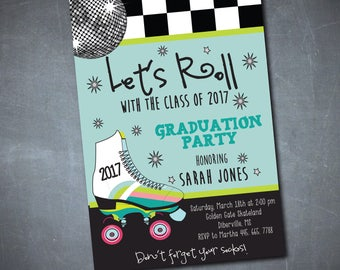 Graduation Party Invitation skating printable/Digital File/senior party, skating graduation, class of 2018, girl, boy/Wording can be changed