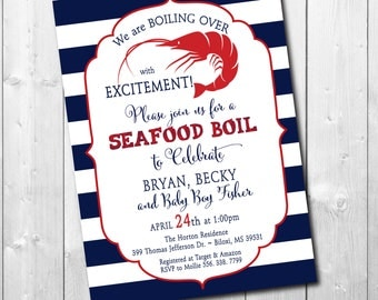 Baby Shower Invitation, Seafood Boil, Shrimp Boil, Crawfish Boil, Low Country/printable/Digital File, navy/Wording & Colors can be changed