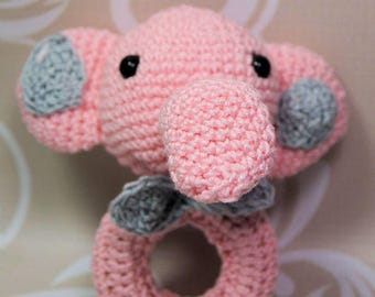Baby rattle, Greifring, Elephant, Amigurumi, manual work