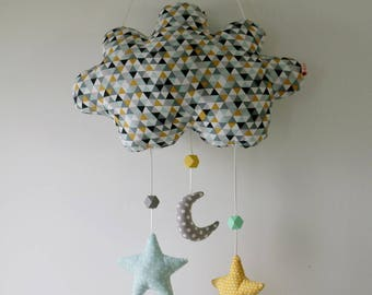 Hanging cloud or decorative cloud with Moon and stars tonsjaune mint grey patterned graphic Scandinavian style