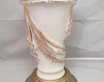 Hollywood Regency Art Deco Gold Hand Painted Drape & Tassel Cream and Gold Table Lamp Gold Base Works