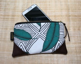 Mini Jungle Line Leaf Zipper Pouch / Mini Clutch with inside lining and Zipper Pull or Leather Wristlet Strap