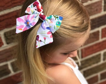 Watercolor Secret Garden Longtail sailor bow, bows for girls, little girl hair bows, nylon bands, bows on nylon band, floral bows