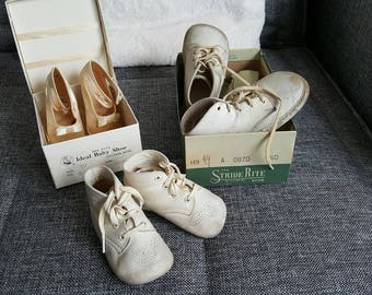 Lot of 3 Vintage Baby Shoes leather and 2 boxes StrideRite & Ideal