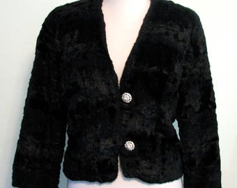 1960s Jacket Black Evening Faux Fur Curly Lamb Small Black