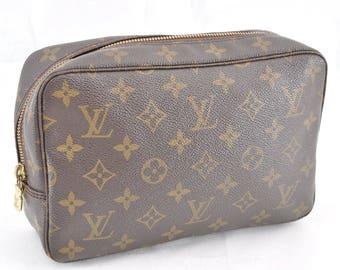 Authentic Louis Vuitton Brown Monogram Canvas Trousse Toilette 23 Unisex Clutch Cosmetic Bag 1986 Vintage Louis Vuitton LV