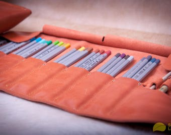 Leather pencil roll for 48 pencils case Burnt Orange - brush roll - Handmade Leather Pen organizer - leather pencil case - pencil roll case