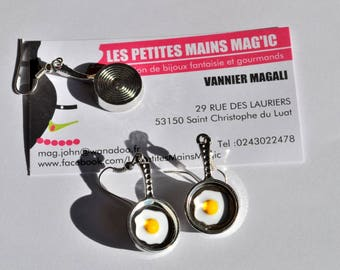 pan fried egg earrings