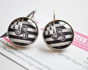special Brittany breton flag and triskell earring