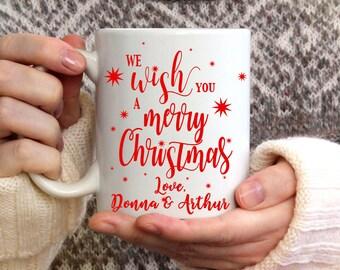 We Wish You A Merry Christmas Mug, Christmas mug, Winter Mug, Coffee Mug, Winter Coffee Mug, Snowflake Mug, Christmas Coffee Mug, 15 oz mug,